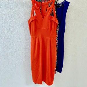 BCBG Orange Cut Out Cocktail Dress